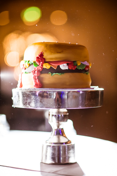 Wedding cake in the shape of giant cheeseburger