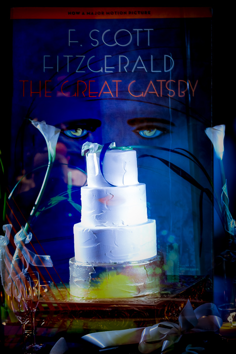 Wedding caple double exposed onto the cover of The Great Gatsby in dramatic and modern wedding photography