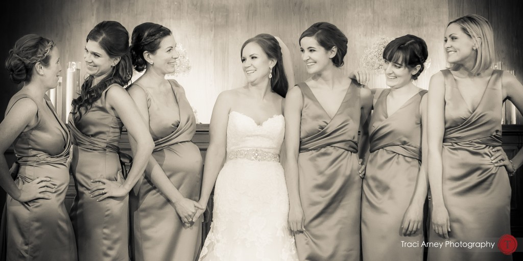 Sepia image of bride and bridesmaids at their wedding at Millennium Center in Winston-Salem, NC.