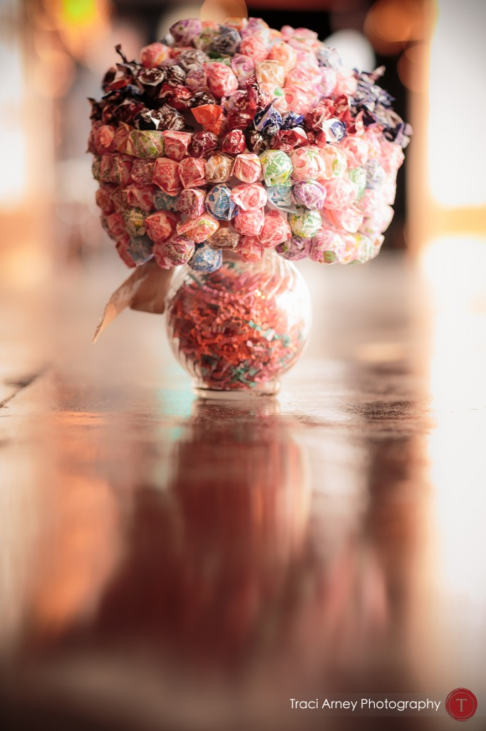 Candy bouquet made of dum dum lollipops at their wedding at Millennium Center in Winston-Salem, NC.