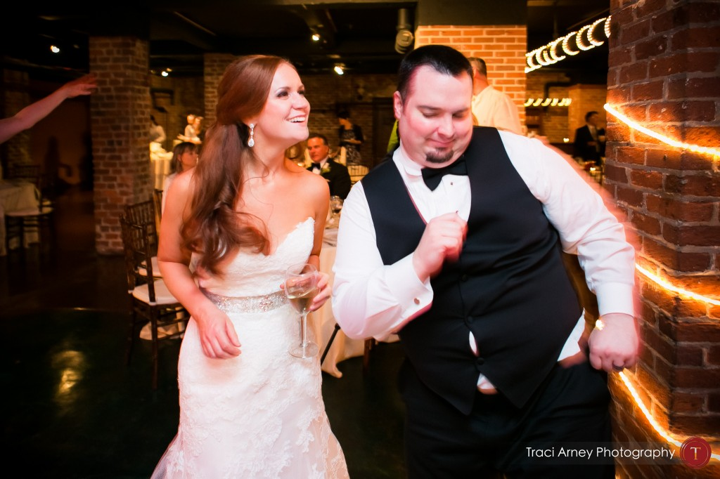 bride and groom dance on the dance floor at their wedding at Millennium Center in Winston-Salem, NC.
