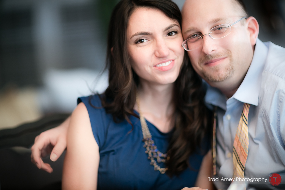 Engagement session in Greensboro, NC bride and groom in camera aware shot looking into camera