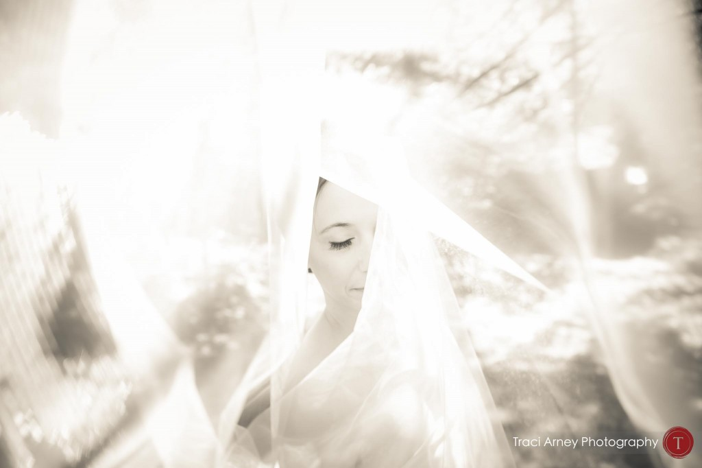 Black and white image of bride's face and eye through her veil during their campground wedding in Asheville, NC.