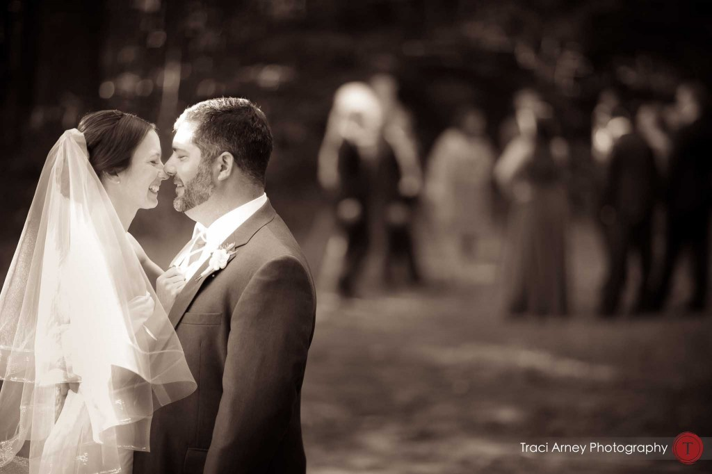 Sepia candid of bride and groom about to kiss during their campground wedding in Asheville, NC.