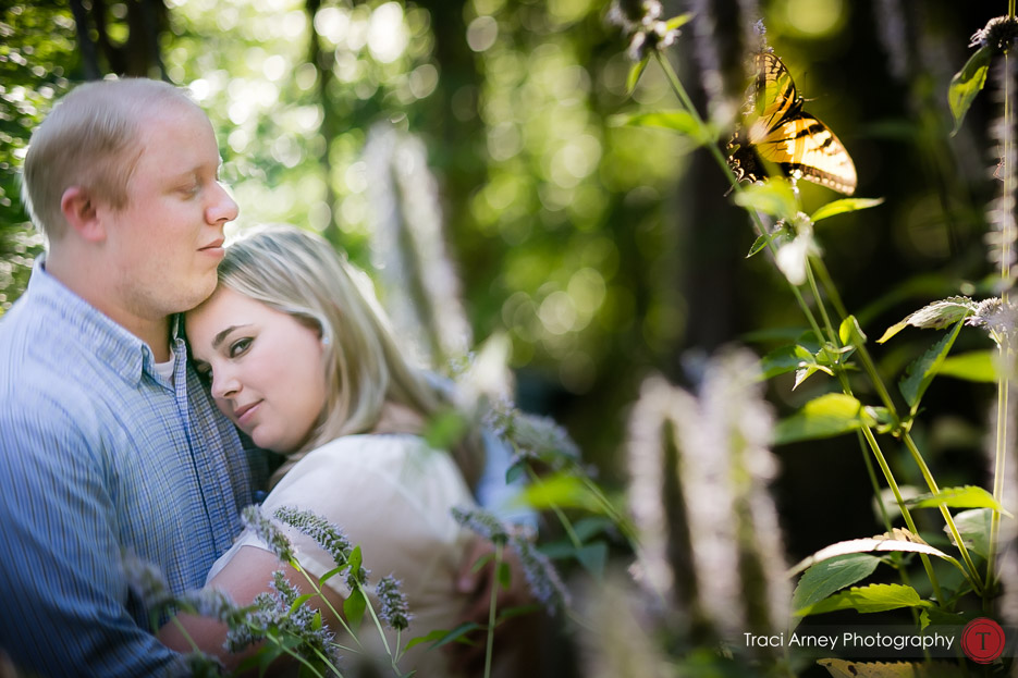 butterfly, yellows and greens, romantic engagement session in lakeside Winston-Salem, NC by Traci Arney Photography