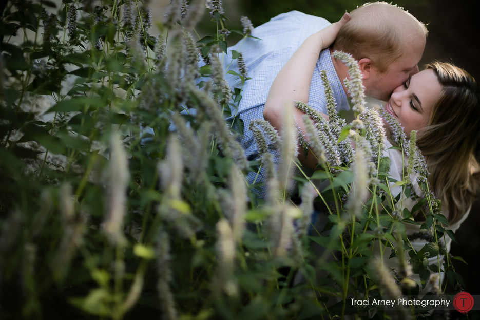 couple embracing in tall grasses in romantic engagement session in lakeside Winston-Salem, NC by Traci Arney Photography