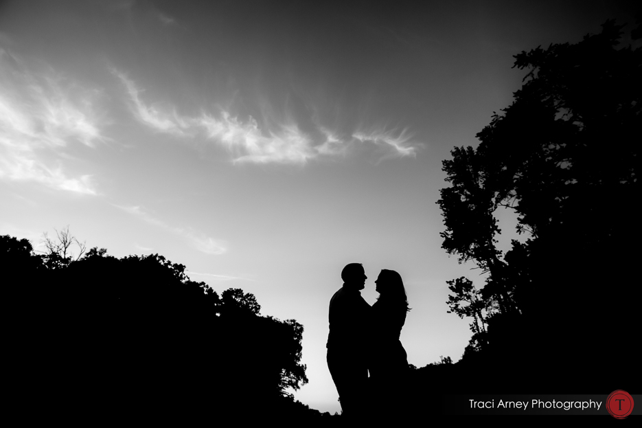 black and white silhouette of couple on pier at lake from romantic engagement session in lakeside Winston-Salem, NC by Traci Arney Photography