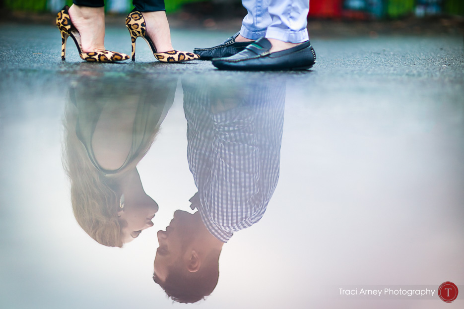 fine art portrait with reflection and leopard heels, engagement session, midwood, charlotte, NC
