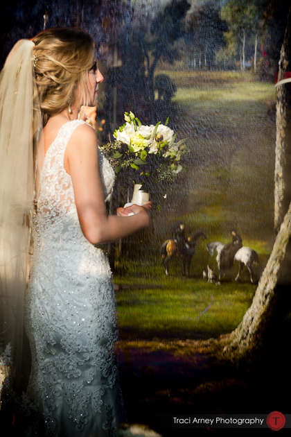 Bride mixed with english countryside painting in double exposure. Revolution Mills wedding.