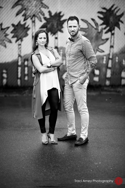 cool urban black and white portrait of bride and groom midwood engagement session, charlotte, NC