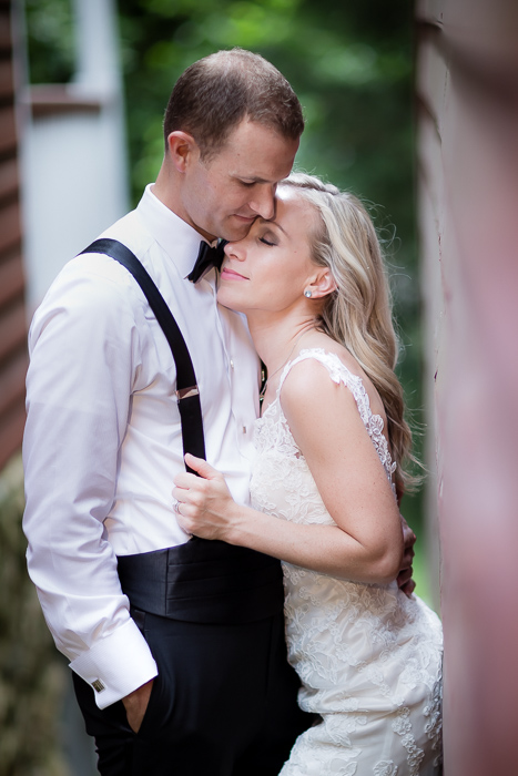 wedding portrait of couple at Old-Salem, NC