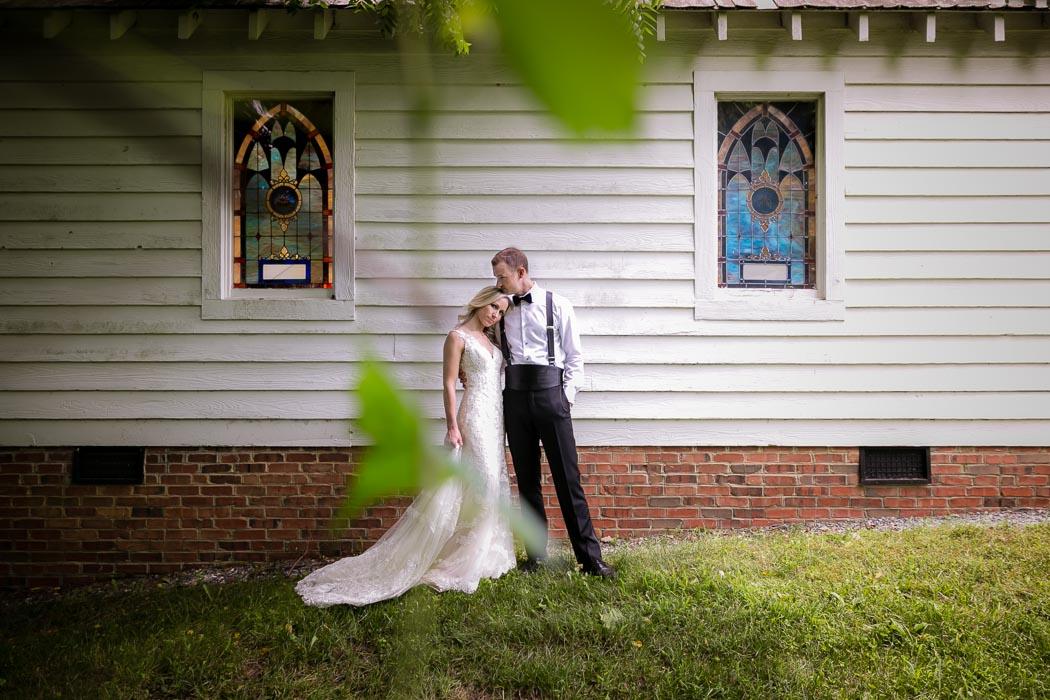 Bride and Groom beside Hagan-Stone Park Chapel