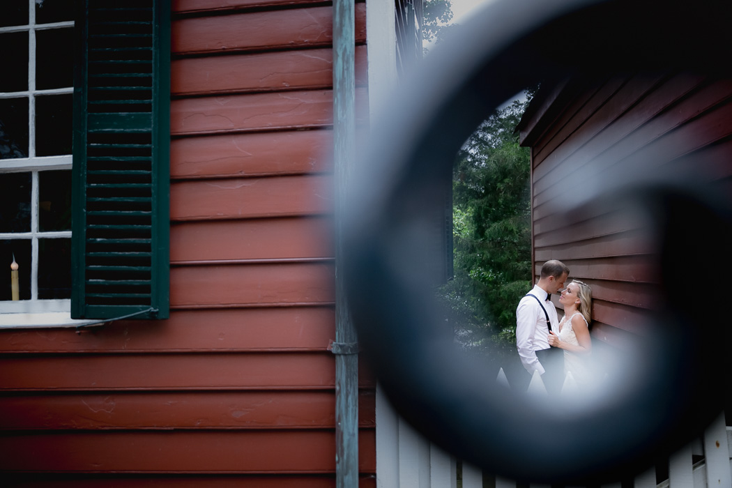 wedding portrait of couple at Old Salem, NC.